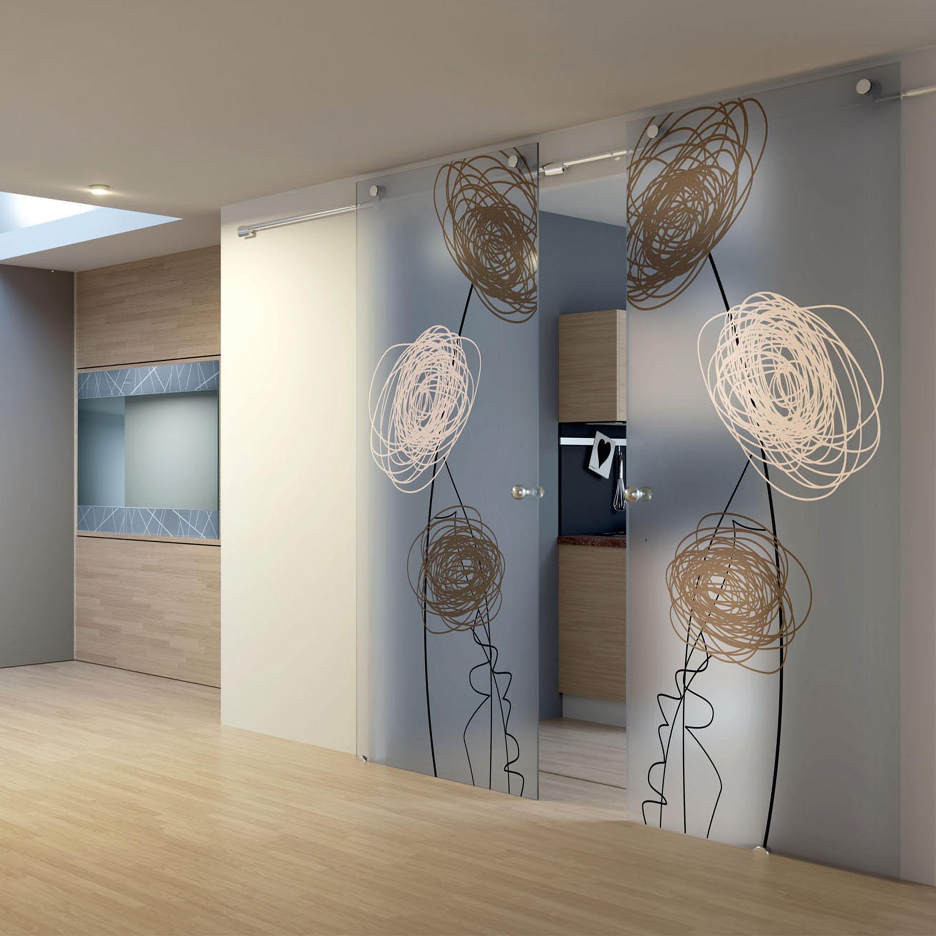 porte in vetro esterno muro scorrevoli disegno floreale